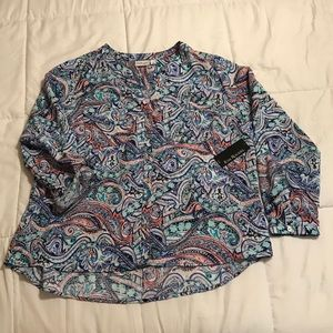 NWT Kim Rogers Curvy Button Down Shirt